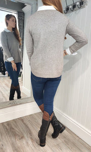 Eva Secret Pocket Crew Neck Knit in Taupe - Renaissance Boutiques Ireland