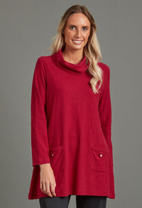 Eve Solid Slub Tunic in Cherry Red - Renaissance Boutiques Ireland