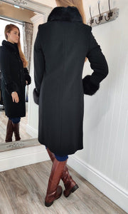 Faux Fur Cuff and Collar Wool and Cashmere Coat in Black - Renaissance Boutiques Ireland
