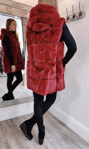 Faux Fur Gilet with Hood in Red - Renaissance Boutiques Ireland