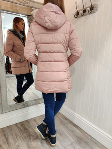 Faux Fur Trim Fitted Coat in Pink - Renaissance Boutiques Ireland