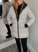 Load image into Gallery viewer, Faux Fur Trim Fitted Coat In Stone - Renaissance Boutiques Ireland