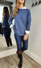 Load image into Gallery viewer, Fia Cable Trim Knit Sweater in Denim Blue - Renaissance Boutiques Ireland