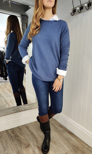 Fia Cable Trim Knit Sweater in Denim Blue - Renaissance Boutiques Ireland