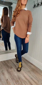 Fia Cable Trim Knit Sweater in Tobacco - Renaissance Boutiques Ireland