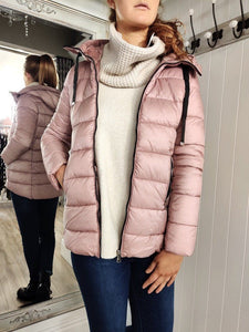 Fitted Puffa Jacket with Black details in Pink - Renaissance Boutiques Ireland