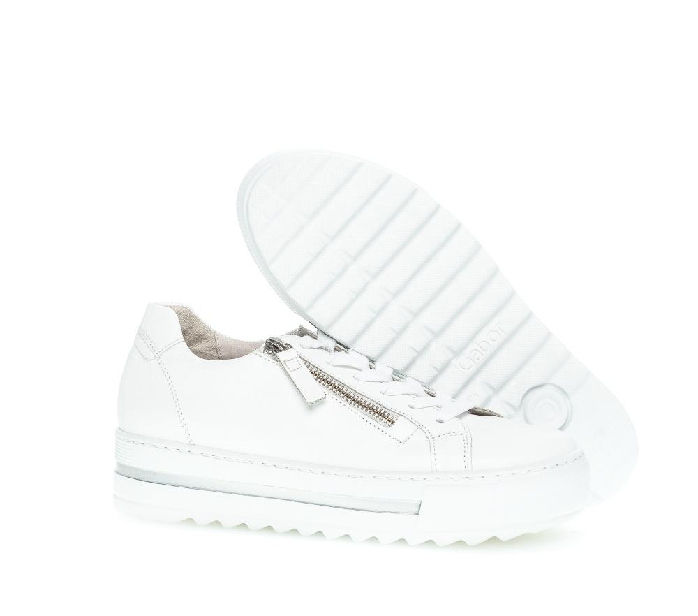 Flatform Leather Zip Sneaker in White Sneaker Gabor