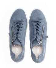 Load image into Gallery viewer, Flatform Suede Zip Sneaker in Blue Sneaker Gabor