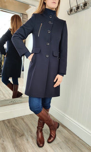 Funnel Collar Zip Detail Coat in Navy - Renaissance Boutiques Ireland