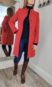 Funnel Collar Zip Detail Coat in Red - Renaissance Boutiques Ireland