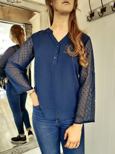 Georgie Blouse in Navy Top Boutique