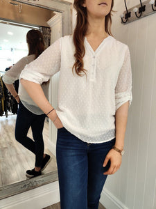 Georgie Blouse in White Top Boutique