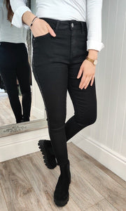 Classic Fit Sparkle Seam Jeans in Black - Renaissance Boutiques Ireland