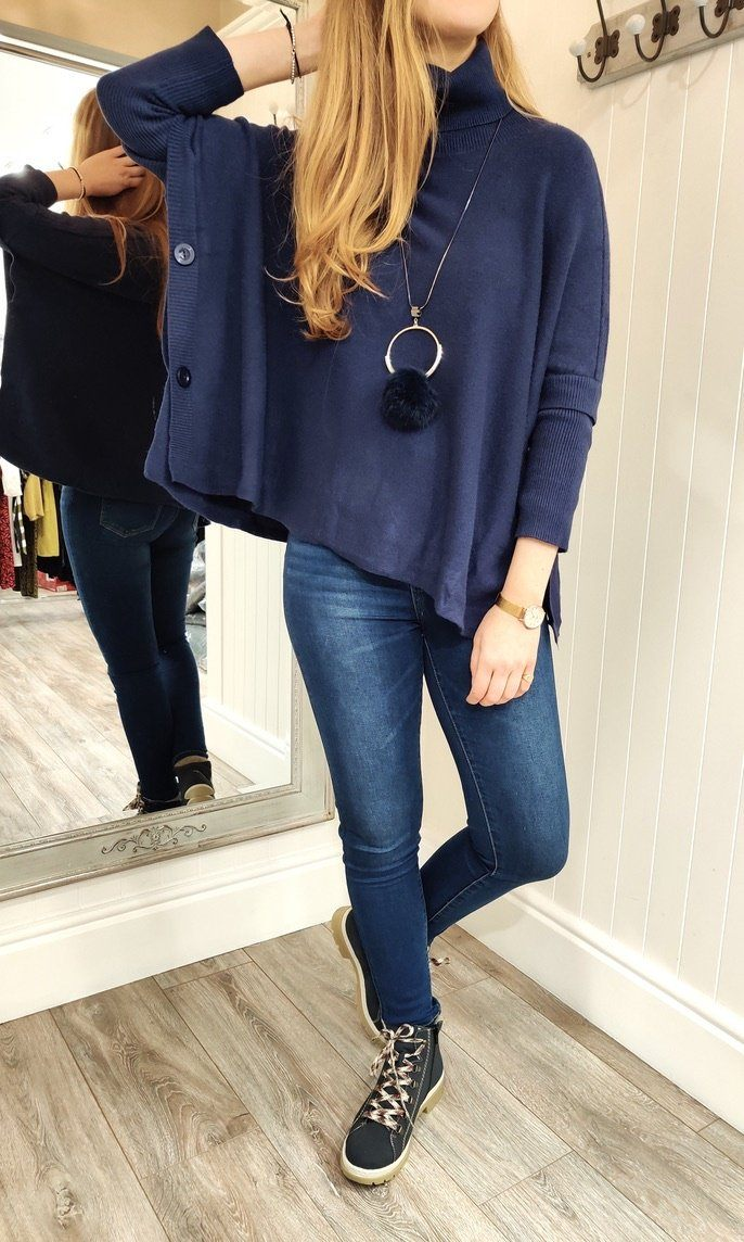 Imogen Oversize Polo Neck Sweater with Button Detail in Navy - Renaissance Boutiques Ireland