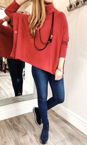 Imogen Oversize Polo Neck Sweater with Button Detail in Red - Renaissance Boutiques Ireland