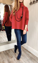 Load image into Gallery viewer, Imogen Oversize Polo Neck Sweater with Button Detail in Red - Renaissance Boutiques Ireland