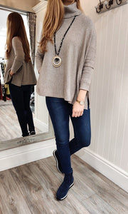 Imogen Oversize Polo Neck Sweater with Button Detail in Taupe - Renaissance Boutiques Ireland