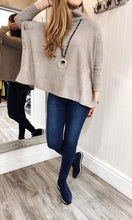 Load image into Gallery viewer, Imogen Oversize Polo Neck Sweater with Button Detail in Taupe - Renaissance Boutiques Ireland