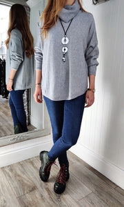 Iris Oversize Cowl Neck Knitwear in Grey - Renaissance Boutiques Ireland