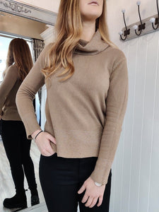 Jackie Sparkle Cowl Neck Knit in Camel - Renaissance Boutiques Ireland
