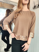 Load image into Gallery viewer, Jojo Sequin Trim Knit in Camel - Renaissance Boutiques Ireland