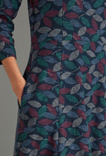 Load image into Gallery viewer, Juliet Textured Leaf Print Dress in Navy - Renaissance Boutiques Ireland