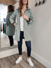 Load image into Gallery viewer, Julla Long Raincoat in Mineral Green Jacket Soyaconcept