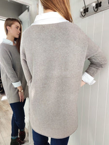 Lisa Long Knit with Pockets in Taupe - Renaissance Boutiques Ireland