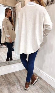 Lara Oversize Crewneck Knit with Seam Detail in Cream - Renaissance Boutiques Ireland
