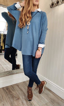 Load image into Gallery viewer, Lara Oversize Crewneck Knit with Seam Detail in Denim Blue - Renaissance Boutiques Ireland