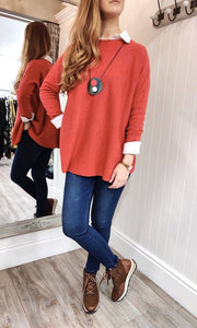 Lara Oversize Crewneck Knit with Seam Detail in Red - Renaissance Boutiques Ireland