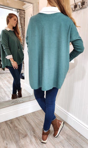 Lara Oversize Crewneck Knit with Seam Detail in Seagreen - Renaissance Boutiques Ireland