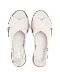 Leather Sandal with Contrast Sole in Cream Footwear Gabor
