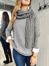 Load image into Gallery viewer, Long Knit Scarf with Cable Pattern - Renaissance Boutiques Ireland