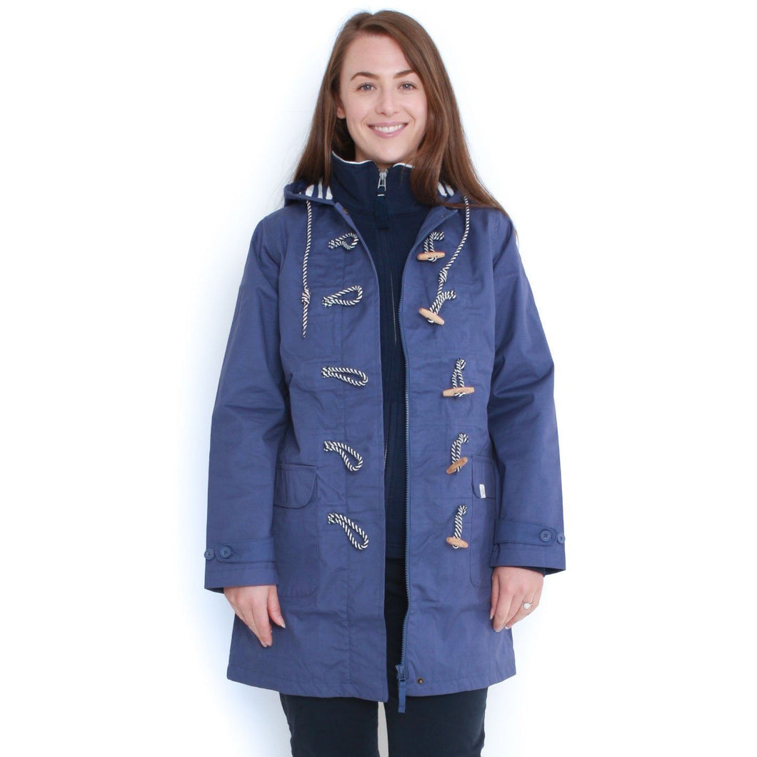 Long Line Waterproof Toggle Coat in French Blue - Renaissance Boutiques Ireland
