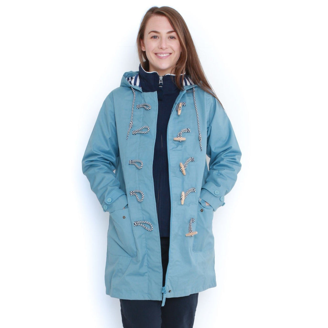 Long Line Waterproof Toggle Coat in Light Blue - Renaissance Boutiques Ireland