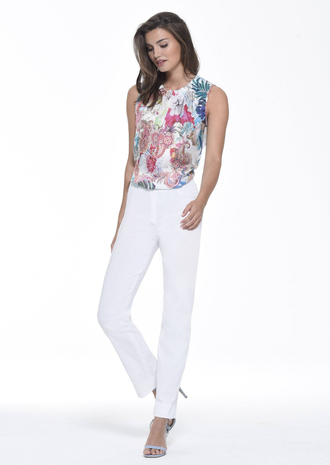 Marie Stretch Trouser in White Trousers Robell