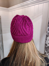 Load image into Gallery viewer, Merino Wool Aran Beanie in Raspberry - Renaissance Boutiques Ireland