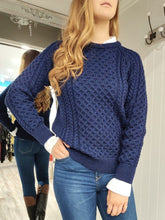 Load image into Gallery viewer, Merino Wool Aran Knit in Navy - Renaissance Boutiques Ireland