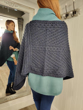 Load image into Gallery viewer, Merino Wool Aran Knit Poncho in Navy - Renaissance Boutiques Ireland