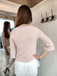 Mia Bow Sleeve Cardi in Light Pink Cardigan Boutique