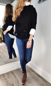 Nina Knit Hoodie with Bobble in Black - Renaissance Boutiques Ireland