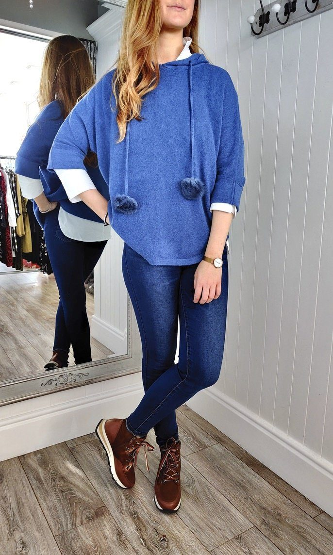 Nina Knit Hoodie with Bobble in Denim Blue - Renaissance Boutiques Ireland