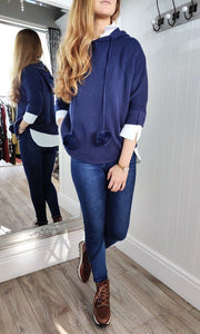 Nina Knit Hoodie with Bobble in Navy - Renaissance Boutiques Ireland