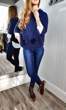 Load image into Gallery viewer, Nina Knit Hoodie with Bobble in Navy - Renaissance Boutiques Ireland