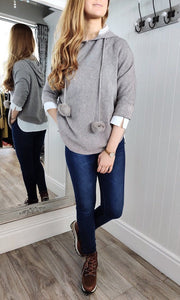 Nina Knit Hoodie with Bobble in Taupe - Renaissance Boutiques Ireland