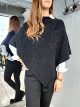 Load image into Gallery viewer, Noelle Asymmetric Sparkle Poncho in Black - Renaissance Boutiques Ireland