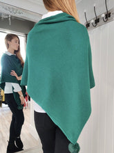 Load image into Gallery viewer, Noelle Asymmetric Sparkle Poncho in Emerald Green - Renaissance Boutiques Ireland