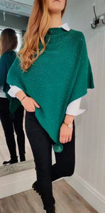 Noelle Asymmetric Sparkle Poncho in Emerald Green - Renaissance Boutiques Ireland