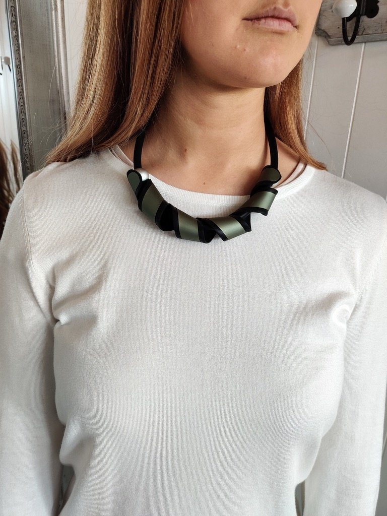 Short Twisted Rubber Necklace in Green - Renaissance Boutiques Ireland